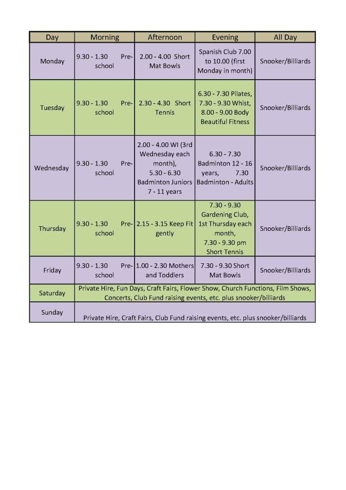 Hall use timetable